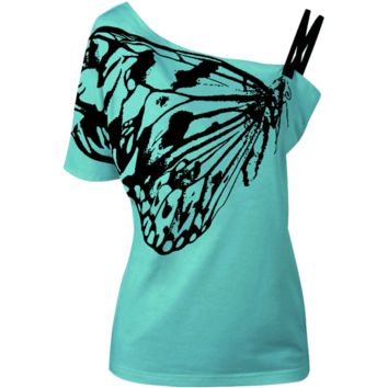 Sexy Ladies Oblique Shoulder T Shirt Butterfly Printed