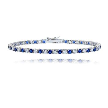 Tennis Bracelet with White Sapphire and Blue Sapphires