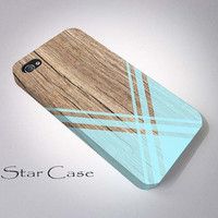 iPhone 4/ 4s and 5 Case - Cell Phone Cover - Geometric Wood X Print iPhone 4 5 Hard Case- iPhone 5 Cover - Tribal Aztec Aqua Blue Phone Cas