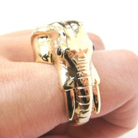 Detailed Elephant Head Shaped Animal Ring in Shiny Gold | US Sizes 7 to 9
