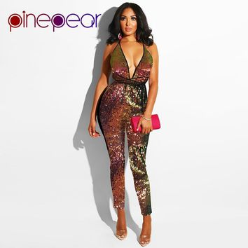 PinePear New 2019 Colorful Glitter Sequin Jumpsuit Women Sexy Deep V-Neck Backless Bandage Bodysuit Clubwear Macacao Feminino