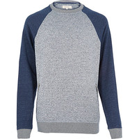 River Island MensGrey zip pocket raglan sleeve sweatshirt