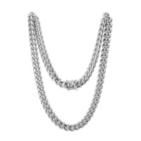 """Stainless Steel 12mm Miami Cuban Link 14k White Gold Finish Chain 24"""" Plain Designer Necklace"""