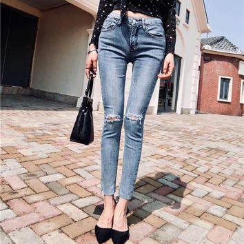 Women Fashion All-match Ripped Hollow Pencil Pants Jeans Stretch Trousers