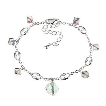 JASSY® Elegant Platinum Plated Colorful Crystal Cube Pendant Anklet Anallergic Best Gift for Women