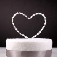 Heart Wedding Cake Topper Custom Wire Sculpture Simple Classic Pearl Swarovski Crystal Heart Love