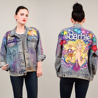 RARE Vintage Tony Alamo Nashville Acid Wash Denim 1980s BARBIE Super Star Glam Oversize Jean Jacket S M L