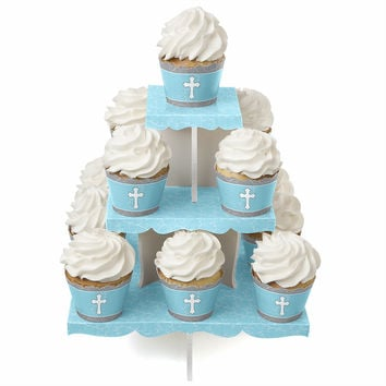 Little Miracle Boy Blue & Gray Cross - Baby Shower Cupcake Stand and 13 Cupcake Wrappers