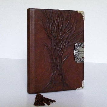 Leather Journal Diary, Brown Notebook, Bucket List, Travel Journal, Tree of Life, Gift for Men Boy, Women, Graduation, Birthday, Leather Art