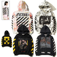 OFF WHITE C/O Hoodies Men Women Brand Clothing Religious Outerwear Coats Hip Hop Skateboard PALACE VLONE Male Hooded Sweatshirts 2017