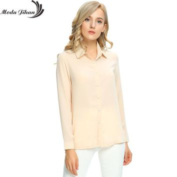 Moda Jihan Women's Chiffon Long Sleeve Button Down Casual Shirt Blouse Top Women Blouse For Office Wear Female Clothes Plus Size