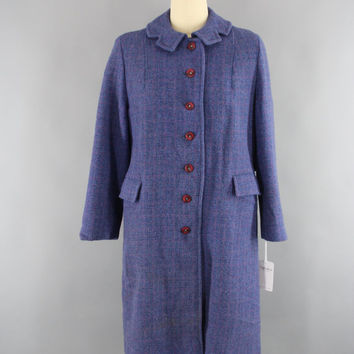 Vintage 1950s Coat / 50s Wool Tweed Overcoat / 1960s Women's Trench Coat / Periwinkle Blue / Harris Tweed Scotland