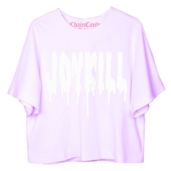 JOYKILL Pastel Purple Oversized Cropped T-Shirt