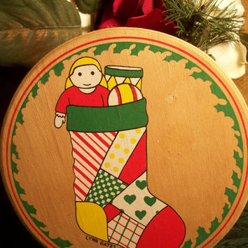 Christmas Stocking with Doll Drum and Ball Bright Red and Green Vintage Round Painted Wood Keepsake Gift Box by Lynn Gates