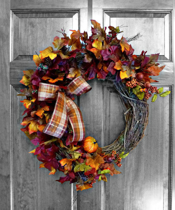 Fall wreath fall leaves fall door from refinedwreath on etsy for 3 wreath door decoration