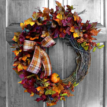 Fall Wreath, Fall Leaves, Fall Door Wreath, Autumn Wreath, Fall Decor, Front Door Wreaths, Front Door Decoration, Outdoor Wreath