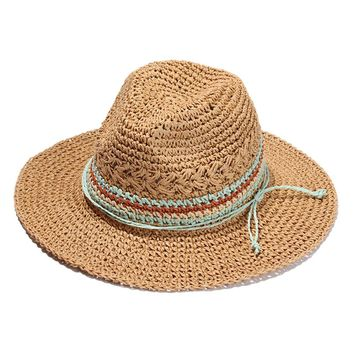 Women Wide Brim Novelties Straw Skimmer Hat Roll up Hat Fedora Summer Beach Sun Hat (Brown)