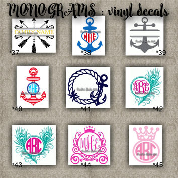 MONOGRAM vinyl decals | name | initial | decal | sticker | car decals | car stickers | laptop sticker - 37-45