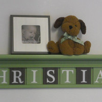 "Baby Nursery Wall Decor 36"" LIght Green Shelf - 9 Wood Wall Letters Plaques Brown and Green for CHRISTIAN"