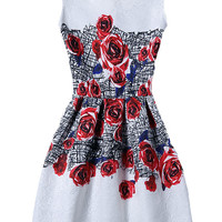 Rose Print Jacquard Skater Dress