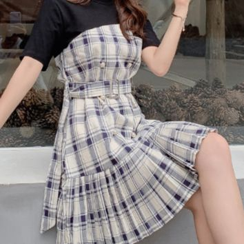 Women's patchwork false two irregular check fishtail waist - hugging dress