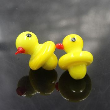 Glass Yellow Duck Carb Cap style Carb Caps for Quartz banger Nails glass water pipes, dab oil rigs