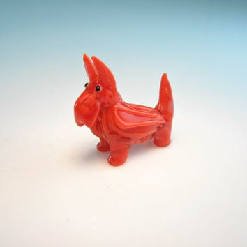 Dog Figure Miniature Vintage Scottie Murano Style Blown Glass Scotty Mini Animal ScottishTerrier Dog Orange Rust Red Mother's Day Gift