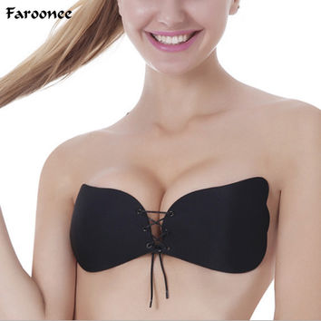 Faroonee Women's Sexy Push Up Bra Silicone Front Lace Up Bralette Invisible Strapless Bra Silicone Intimates Bras 3/4 Cup2C0095