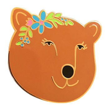 Flower Bear Enamel Pin