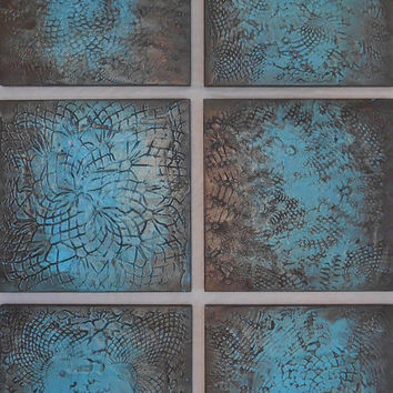 Textured Wood Block Art - Abstract Paintings - Modern Art - Teal Paintings - Modern Wall Art - Acrylic Paintings - Wood Wall Sculpture