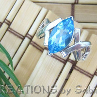 Sterling Silver Blue Topaz / Aquamarine Ring, Marquise Gemstone, Size 6.5 Vintage