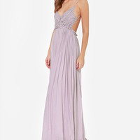 Floral Lace Embroidered Backless V- Neck Pleated Maxi Dress