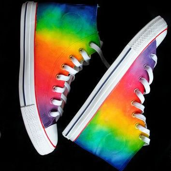 Custom handpainted rainbow sneakers,personalized shoes, rainbow converse, rainbow vans