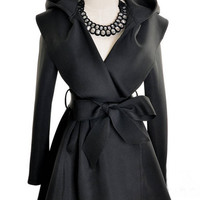 ROMWE | Black Hoodie Belt Waist Open Long Coat, The Latest Street Fashion