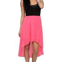Strapless High Low Dress with Stone Trim Neckline and Tulip Skirt
