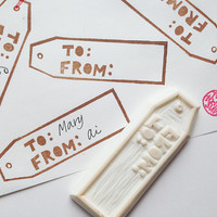 gift tag rubber stamp. from to stamp. hand carved rubber stamp. packaging stamp. gift wrapping/holiday craft projects