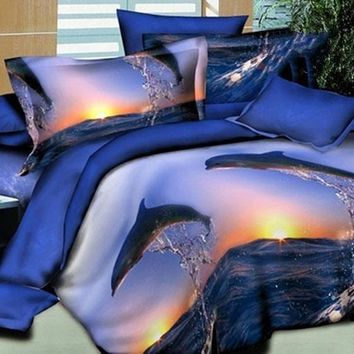 3D Dolphin Jumping into the Sea Printed Cotton Luxury 4-Piece Bedding Sets/Duvet Covers