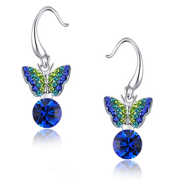 Sleeping Butterfly Round Austrian Crystal Drop Earrings - Blue & Green