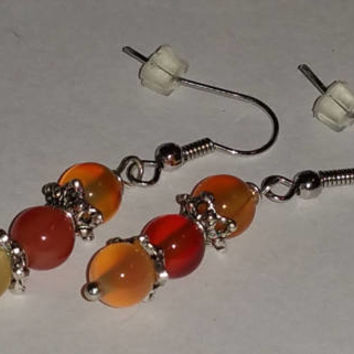 Natural Carnelian Gemstone Earrings, Brownish Reddish Orange Gemstone Dangle Earrings, Handmade Earrings, Gifts for Her