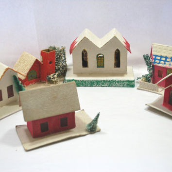 6 Houses Putz Christmas Village Cardboard from Japan with Mica Windows