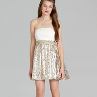 Sequin Hearts Strapless Shirred Metallic Dress 					 					 				 			 | Dillard's Mobile