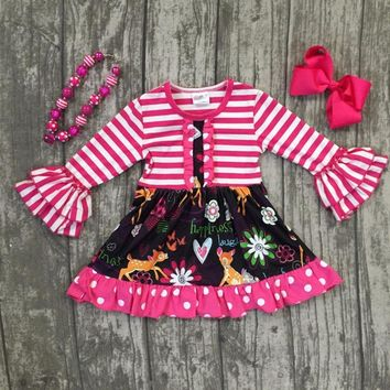 Girls Pink Striped Deer Boutique Dress with Necklace and Hair Bow