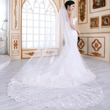 DCCKIX3 good quality double layer soft new long lace veil bride married wedding cute flower glitter stylish white lace   dress accessories / 2.8m long lace veil for wedding = 1929792580