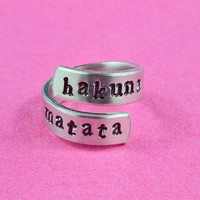 hakuna matata - Hand Stamped Twist Ring, Pure Aluminum , Adjustable,  Skinny Band Ring, Lion King Inspired