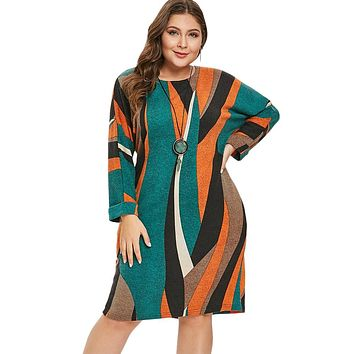 Striped Knitted Pocket Long Sleeves Dress