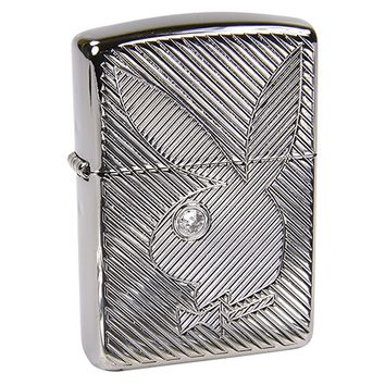 Playboy Armor Heavy Zippo Outdoor Indoor Windproof Lighter Free Custom Personalized Engraved Message Permanent Lifetime Engraving on Backside