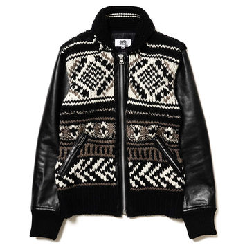 eYe Wool Cowichan Hand Knitting x Cowhide Varsity Jacket