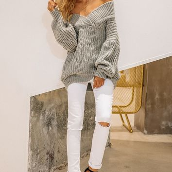 Off Shoulder Loose Fit Long-sleeve Thick Sweater