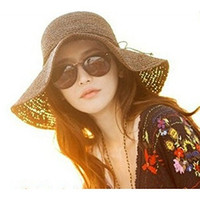 Wowlife Retro Women Wide Brim Roll-up Crocheted Bohemia Straw Sun Hats brown 56-58CM