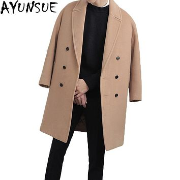 AYUNSUE New 2017 winter jacket men woolen coat Thick Long manteau homme Male Turn Dowan Collar Wool Coat Men Outwear LX773